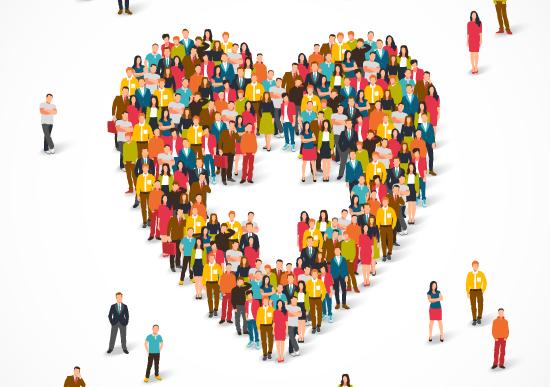 People in shape of healthcare heart
